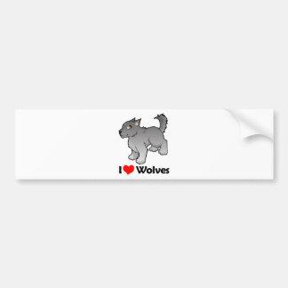 I Love Wolves Bumper Sticker