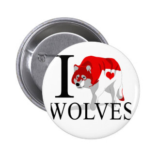 I Love Wolves Buttons