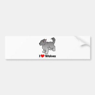 I Love Wolves Car Bumper Sticker