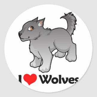 I Love Wolves Classic Round Sticker