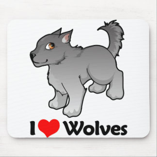 I Love Wolves Mouse Pad