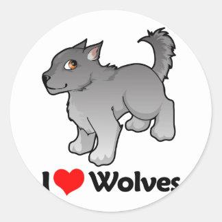 I Love Wolves Round Sticker