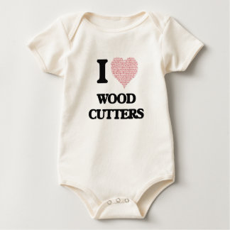 I love Wood Cutters (Heart made from words) Baby Creeper