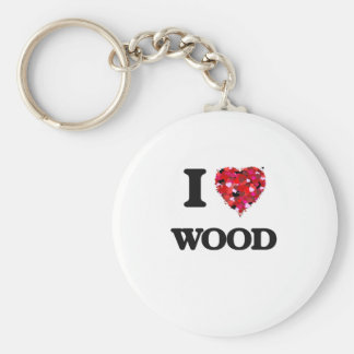 I love Wood Basic Round Button Key Ring