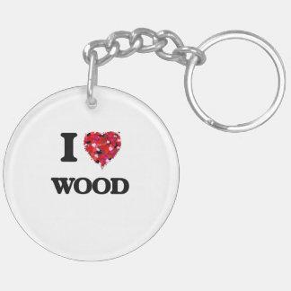 I love Wood Double-Sided Round Acrylic Key Ring