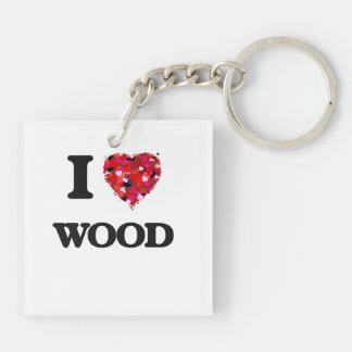 I love Wood Double-Sided Square Acrylic Key Ring