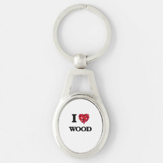 I love Wood Silver-Colored Oval Key Ring