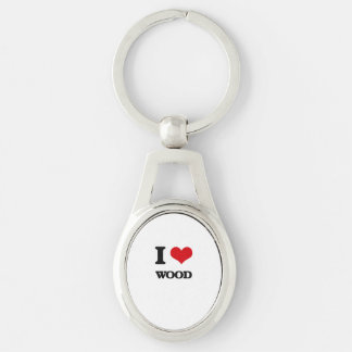 I love Wood Silver-Colored Oval Keychain