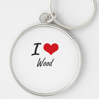 I love Wood Silver-Colored Round Key Ring