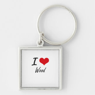 I love Wood Silver-Colored Square Key Ring