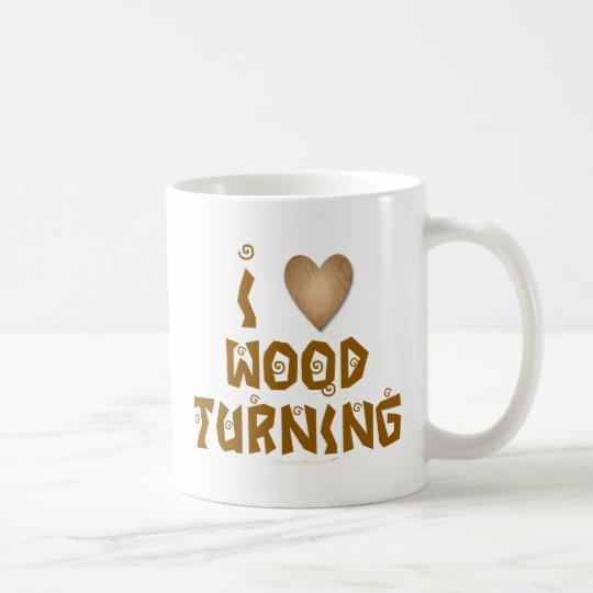 I Love Wood Turning Wooden Heart Coffee Mug
