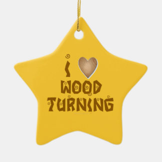 I Love Woodturning Wooden Heart Turners Ornament