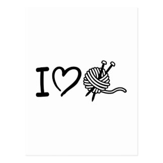 I love wool knitting needles postcard