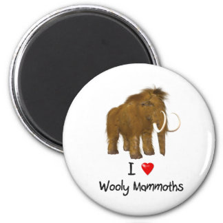 """""""I Love Wooly Mammoths"""" Wooly Mammoth 6 Cm Round Magnet"""