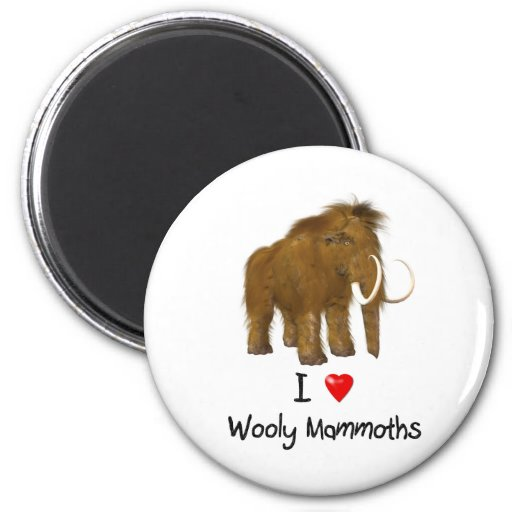 """""""I Love Wooly Mammoths"""" Wooly Mammoth Fridge Magnets"""