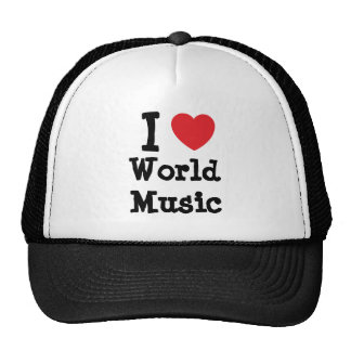 I love World Music heart custom personalized Trucker Hats