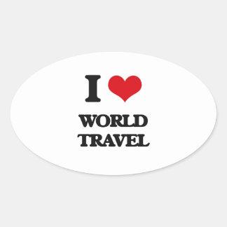 I love World Travel Oval Sticker