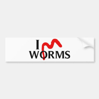 I Love Worms Bumper Sticker