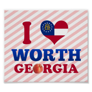 I Love Worth, Georgia Print