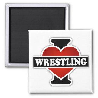I Love Wrestling Square Magnet