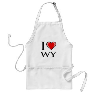 I Love WY - Wyoming Adult Apron
