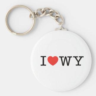 I LOVE Wyoming Basic Round Button Key Ring