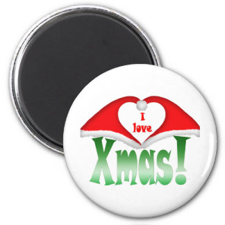 I love Xmas! 2 Xmas forming a heart 6 Cm Round Magnet