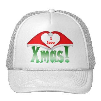I love Xmas! 2 Xmas forming a heart Mesh Hat