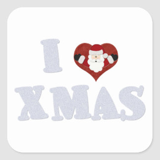 I Love Xmas Square Sticker