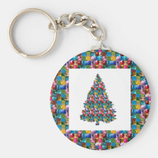I LOVE XMAS : TREE jadded with PEARL JEWEL GEMS Basic Round Button Key Ring