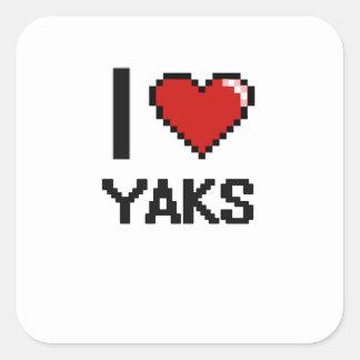 I love Yaks Digital Design Square Sticker