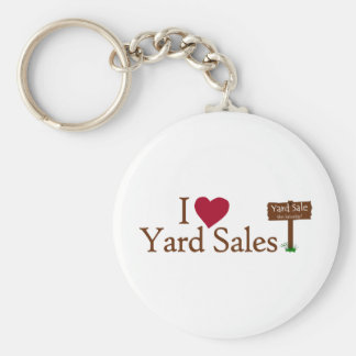 I Love Yard Sales Basic Round Button Key Ring