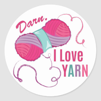 I Love Yarn Round Sticker