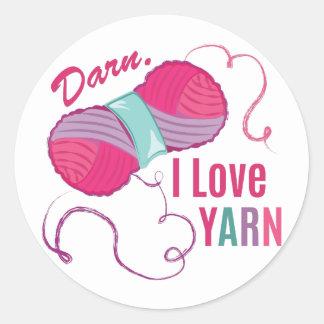 I Love Yarn Round Sticker