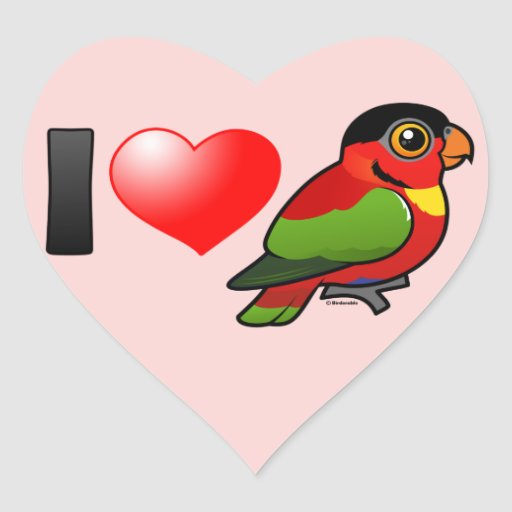 I Love Yellow-bibbed Lories Heart Sticker