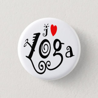 I Love Yoga 3 Cm Round Badge