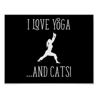 I love Yoga and Cats Dark Background Poster
