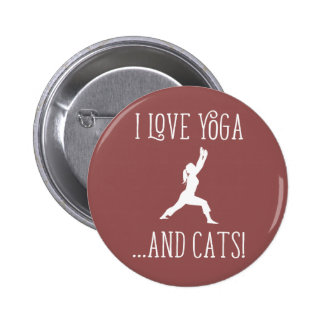 I love Yoga and Cats for Dark Background Badge