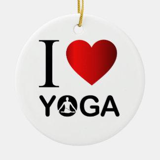 I love yoga round ceramic decoration