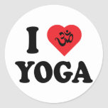 I Love Yoga Round Sticker