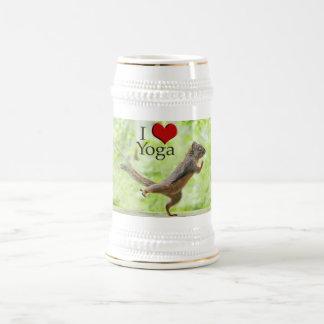I Love Yoga Squirrel Beer Stein