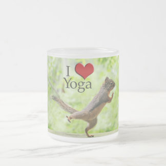 I Love Yoga Squirrel Frosted Glass Coffee Mug