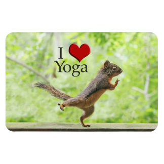 I Love Yoga Squirrel Magnet
