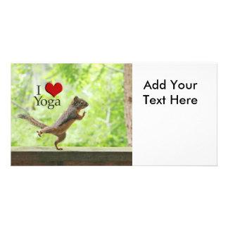 I Love Yoga Squirrel Personalised Photo Card