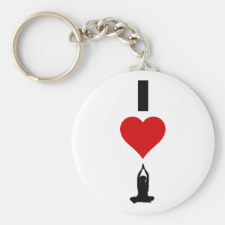 I Love Yoga (Vertical) Basic Round Button Key Ring
