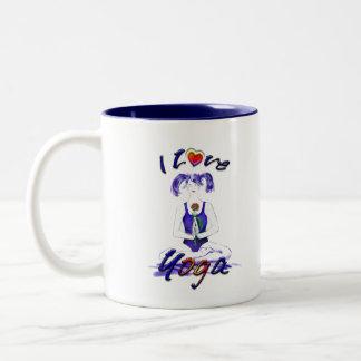 I Love Yoga-with funny quote Two-Tone Coffee Mug
