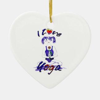 I Love Yoga-Yoga Girl Ceramic Heart Decoration