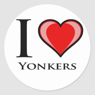 I Love Yonkers Round Sticker