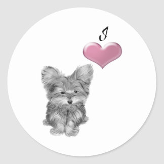 I Love Yorkie Dog Cute Art  Design Classic Round Sticker