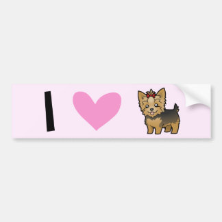 I Love Yorkshire Terriers (short hair with bow) Bumper Sticker